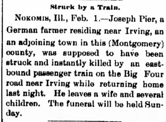 Joseph Pier death 1890 -