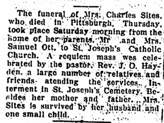 1920 Jun Ott-Sites Obit - The funera,l.^pf,,Mrq: Charles Sites, who,died...