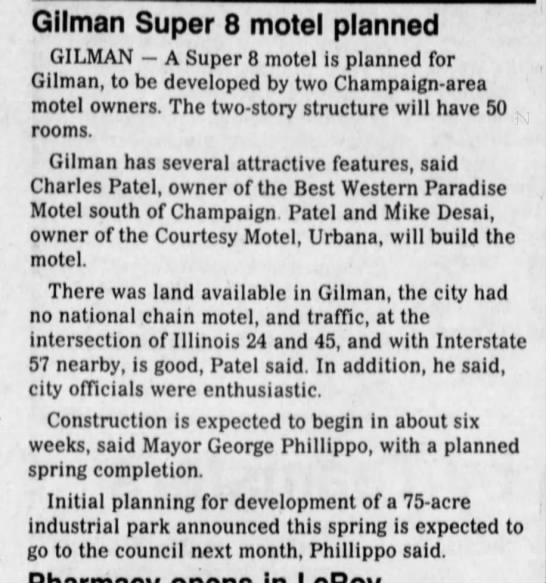 Gilman Super 8 motel planned -