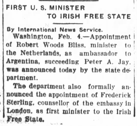 FIRST U. S. MINISTER TO IRISH FREE STATE -