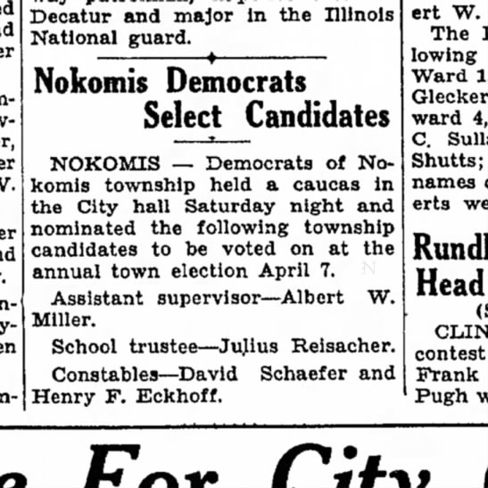 Henry Eckhoff constable election 1931 -