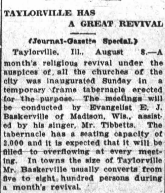 TABERNACLE MONTH LONG REVIVAL TAYLORVILLE - TAYLORVILLE HAS A GREAT, REVIVAL t...