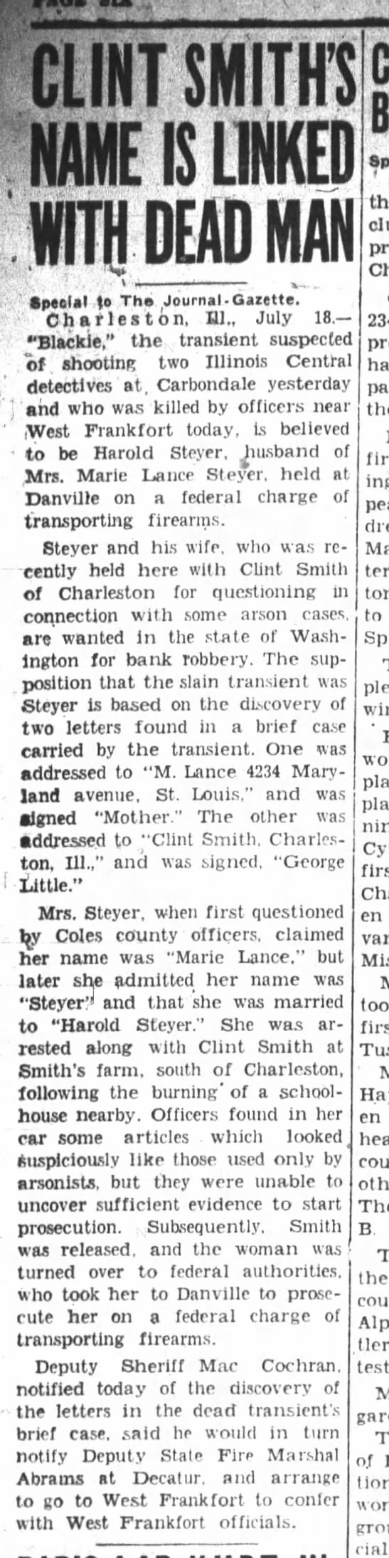 Marie Lance alias Marie Steyer, with address in St. Louis in 1930s Also Clint Smith of Coles Co, IL -