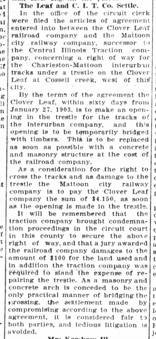 interurban feb 9 1904 - Tlie Jeaf and C. I. T. Co. Settle. In the...