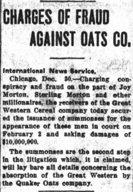 Charges of Fraud aginst oats co. -