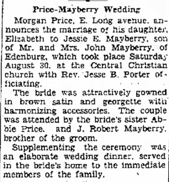 Jesse Mayberry & Elizabeth Price Marriage -