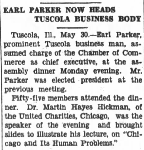 Earl Parker took charge of Chamber of Commerce 1929 - EARL PARKER NOW HEADS TUSCOLA BUSINESS BOOT...