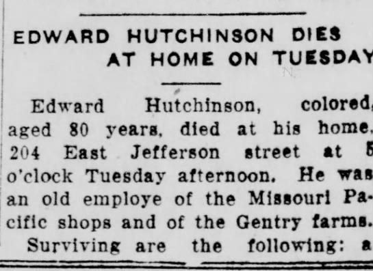 Part I Edward Hutchinson Dies -