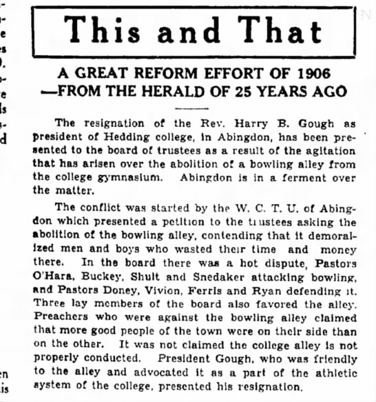 President resigns over bowling alley, Decatur Herald, June 21, 1931 -