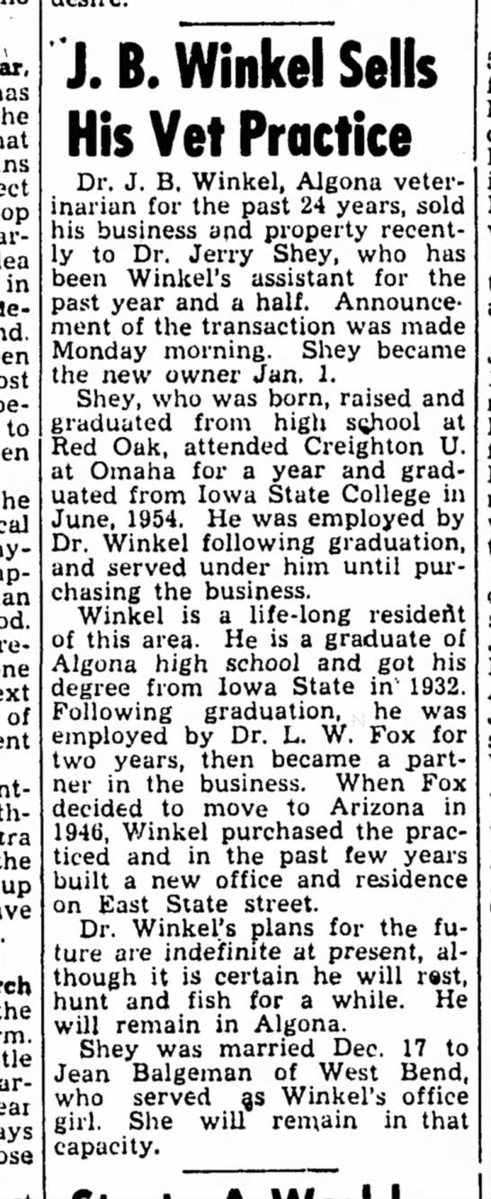 JB Winkel sells vet practice1/10/1956 -