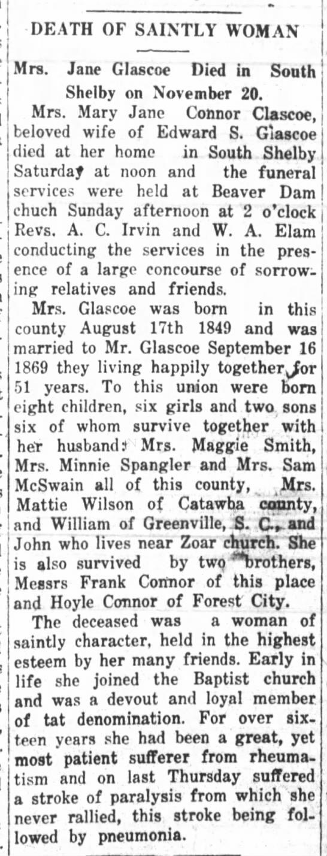 Obit of Mary Jane Connor Glascoe  Nov 23, 1920 -
