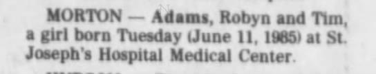 Adams Robyn and Tim Girl June 11 1985 -