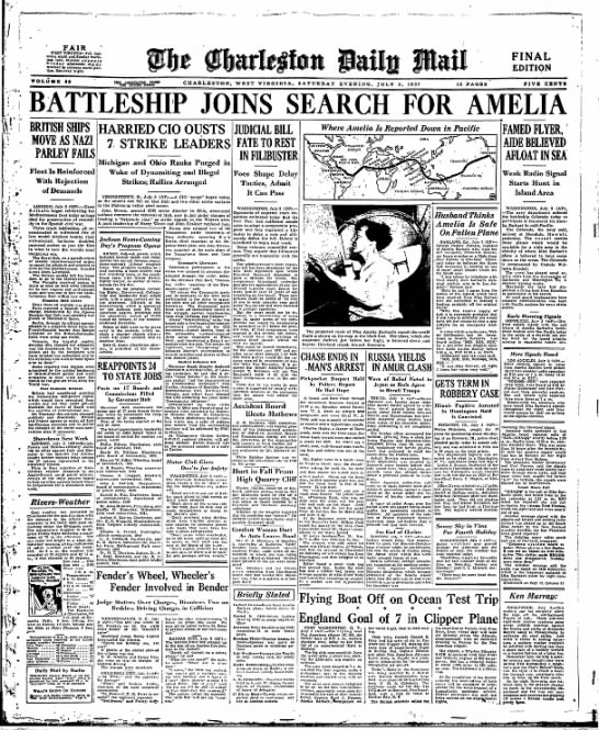 Battleship joins search for amelia -