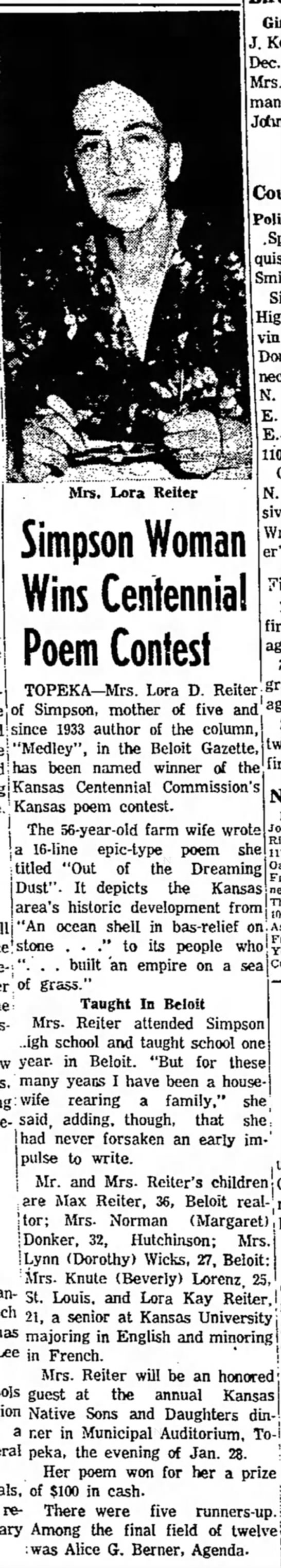 Lora Reiter wins Poetry contest Salina Journal 25 Dec 1960 -