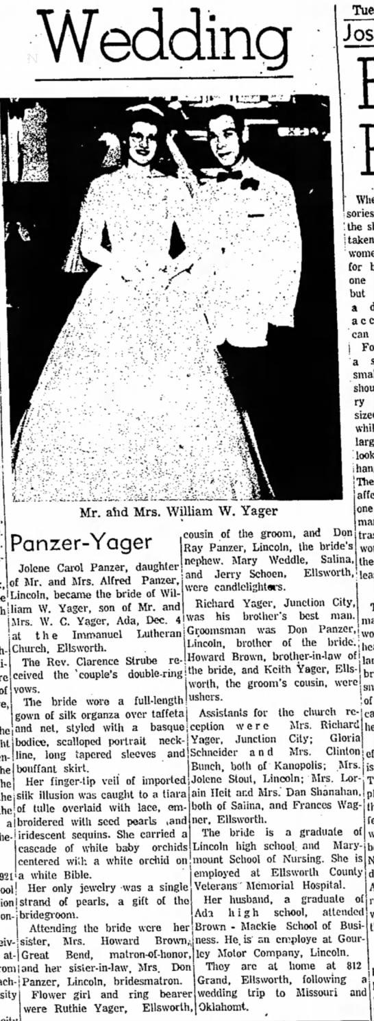 Jolene Carol Panzer Wedding -