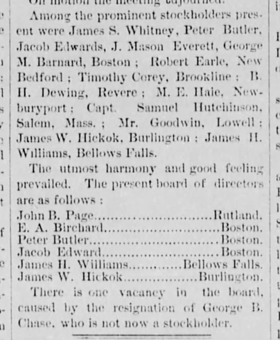 Captain Samuel Hutchinson stockholder in Rutland Railroad (VT) 28 Jan 1874 -