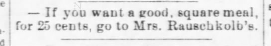 Mrs. Rauschkolb - Nebraska Advertiser (Brownville, Nebraska)03 Jan 1878, ThuPage 3 -