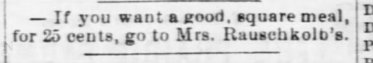 Mrs. Rauschkolb - Nebraska Advertiser (Brownville, Nebraska)31 Jan 1878, ThuPage 3 -
