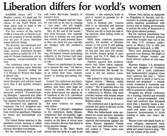 Liberation differs for world's women. The Salina Journal. (Salina, Kansas) 28 July 1985, p 6 -