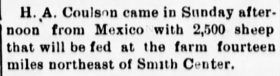 Harry Coulson to Mexico in 1905 -