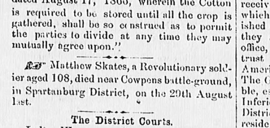 Death of Matthew Skates -