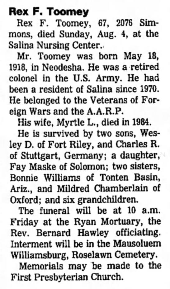 The Salina Journal (Salina, Kansas) 6 August 1985_ Pg. 9_ Rex F. Toomey obit -