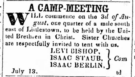 Isaac Staub, camp meeting -