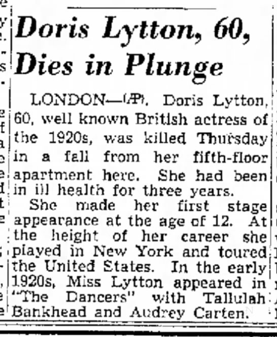 Doris Lytton fell to her death (1953) -