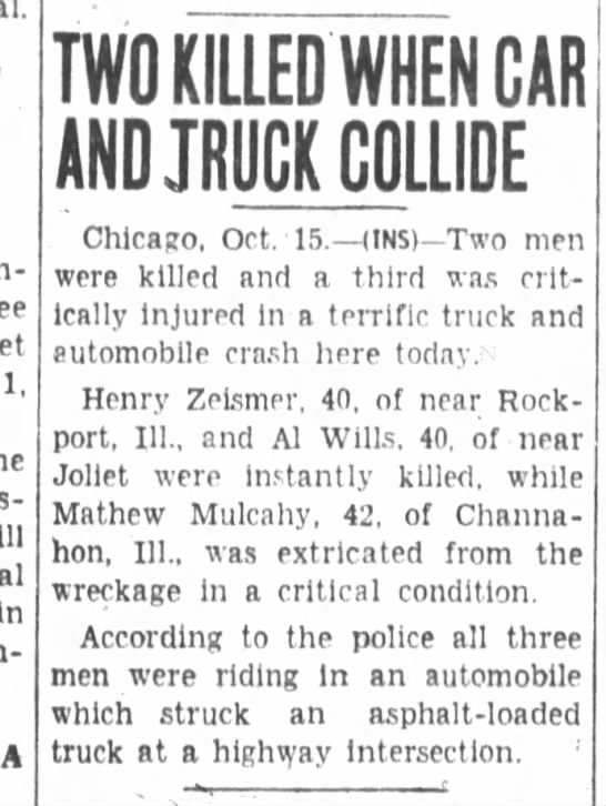 Two Killed When Car And Truck Collide - 15 Oct 1937, page 1 -