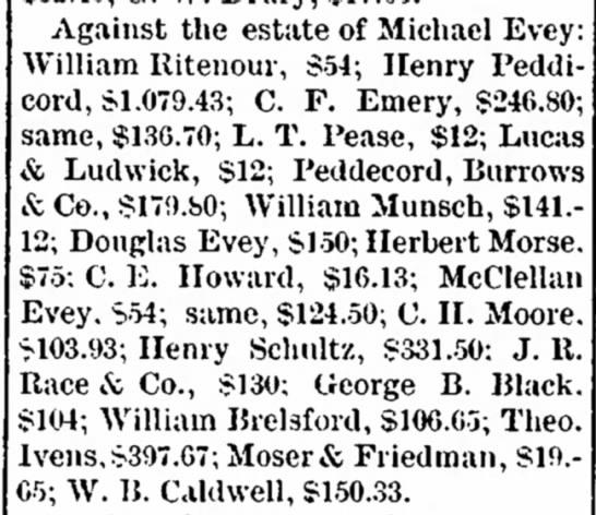 EVEY MICHAEL Estate, claims against, incl Henry Peddicord. -
