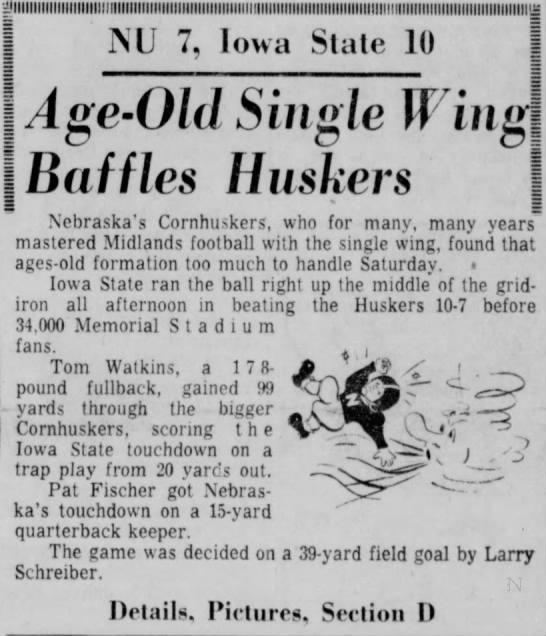 1960 Nebraska-Iowa State football blurb -