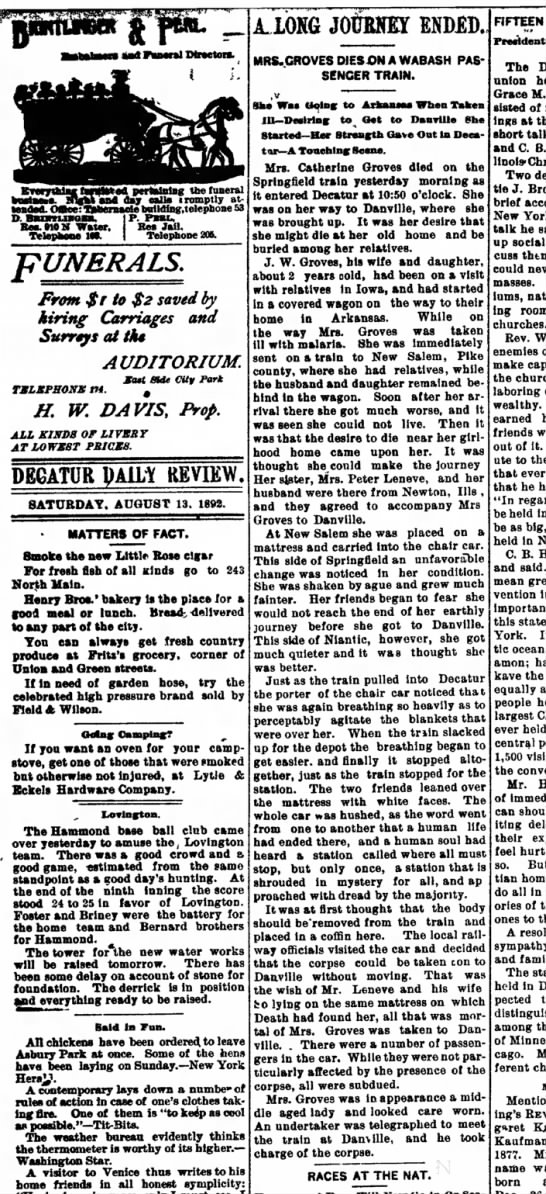 13 Aug 1892 Decatur, IL Daily Review -
