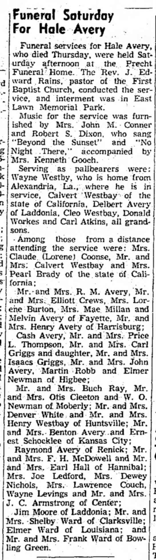 """""""Funeral Saturday For Hale Avery,"""" Mexico (Missouri) Ledger, 17 May 1954, p. 6, col. 3. -"""