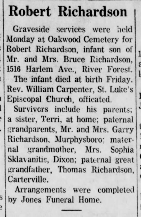 Helen and Bruce's infant son died 9.25.1968 -