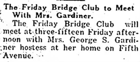 bridge, geo. gard., bridge club 27 nov. 1929 the morning call -