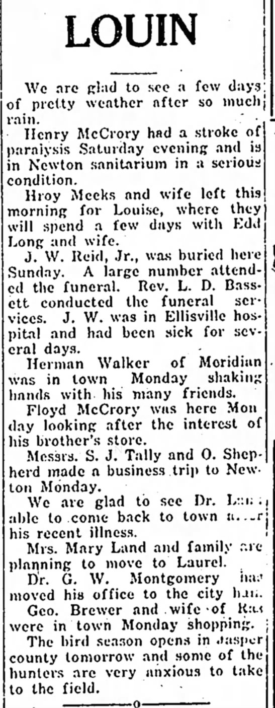 """John Walter Reid Jr funeral notice - ,"""" LOUIN Ann, the C. from to Ala., We arc glad..."""