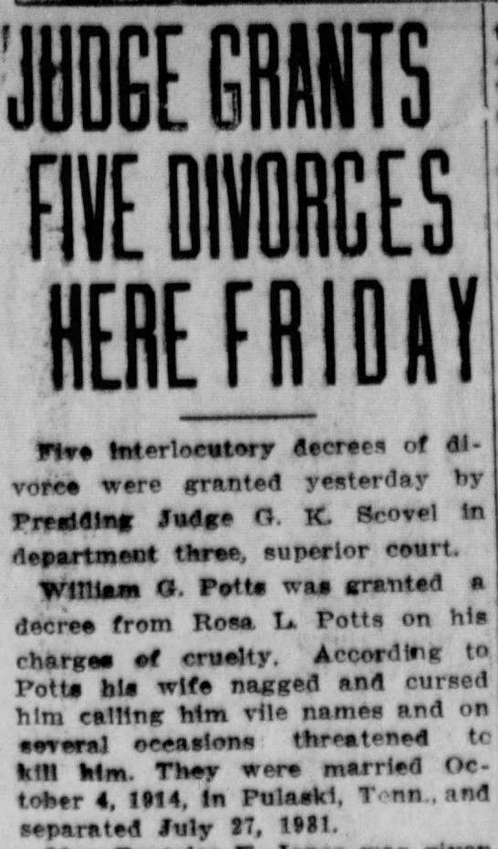 William Glen and Rosa Lee Potts divorce  16 dec 1933 pg 9. -