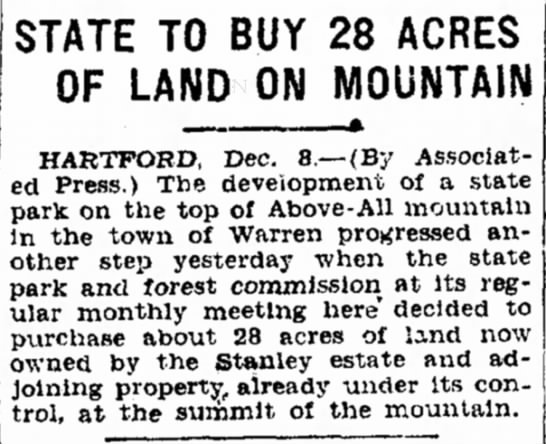 Purchase of land for Above All State Park -