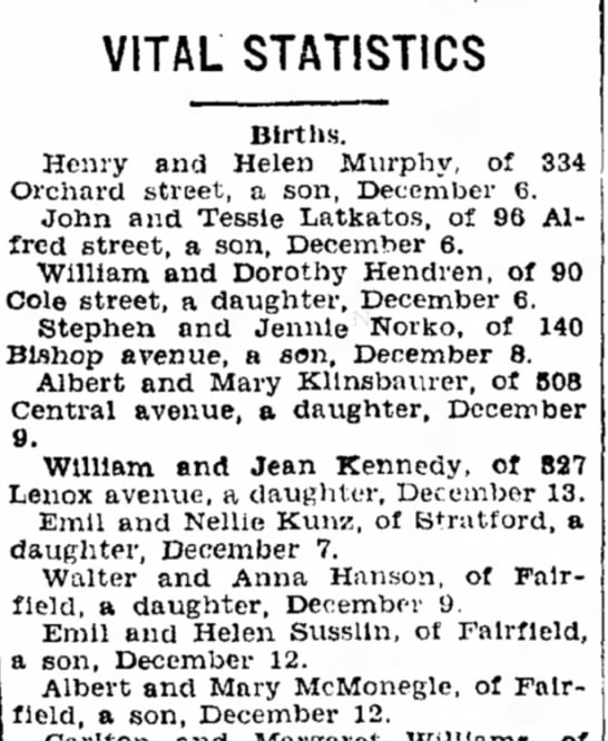 Bridgeport Telegraph, Bridgeport, CN 15 Dec 1927 -