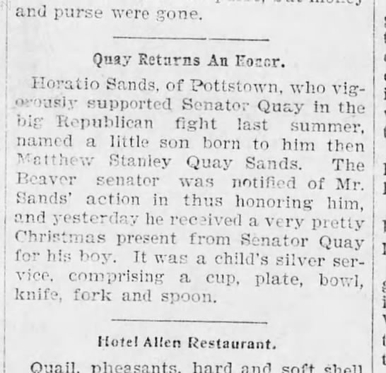 Horatio Sands supports Senator Quay - and purse were gone. Qnay Returns An FoMr....