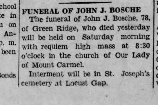 John J. Bosche Funeral Announcement, 1942 -