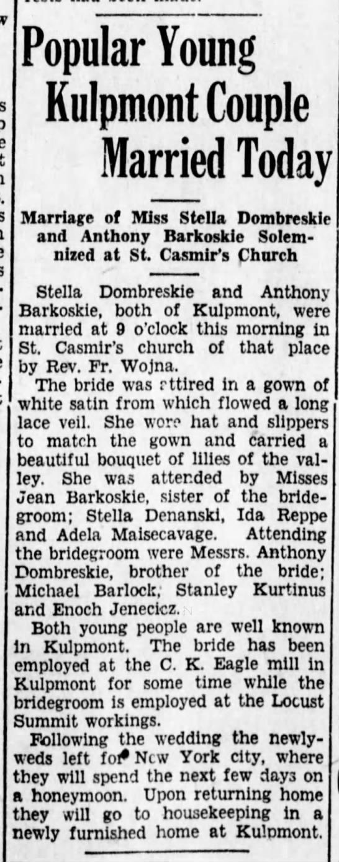 Dombreskie/Barkoskie Wedding 1930 -