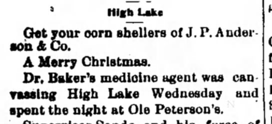 Ole Christian Peterson - 3 High Lake Get your corn shelters of J. P....