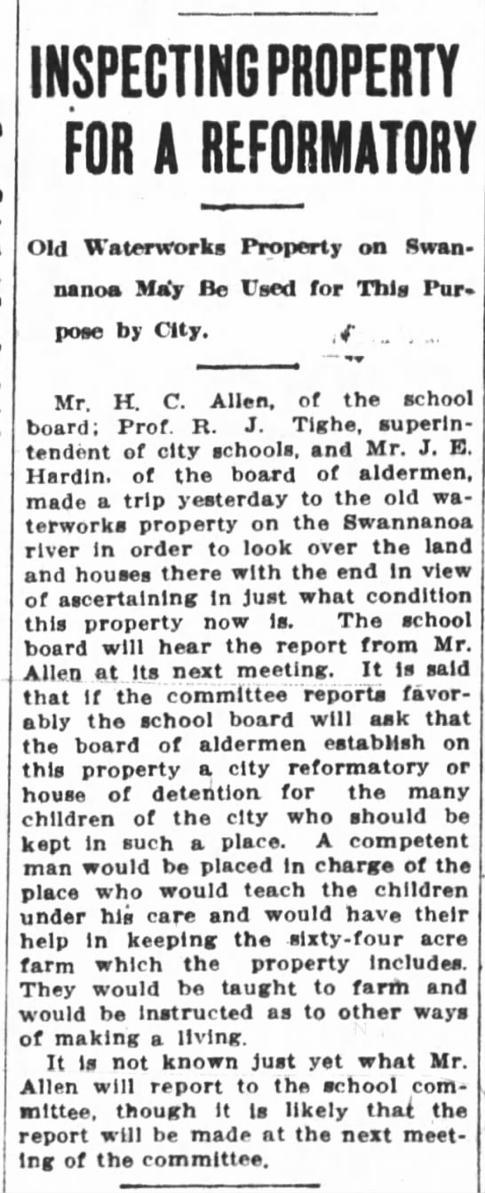 Waterworks- Asheville Citizen- April 8, 1911 -