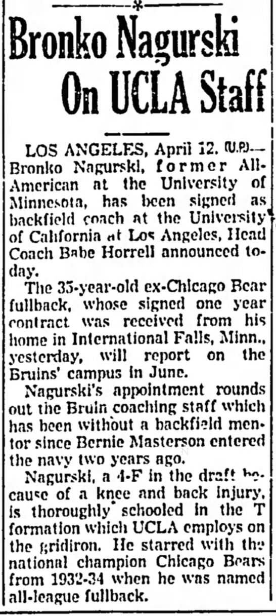 Bronko Nagurski On UCLA Staff -