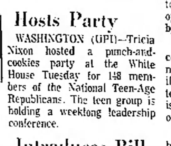 Tricia Nixon holds party for National Teen-Age Republicans -