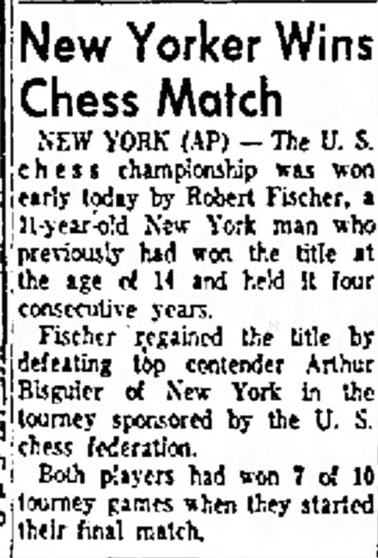 New Yorker Wins Chess Match -