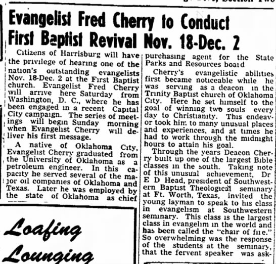 Revival November 18 through December 2, 1951 in Harrisburg Ilinois, FBC -