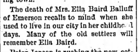 Death of Ella Baird Balluff - The death of Mrs. Ella, Baird Balluff of...
