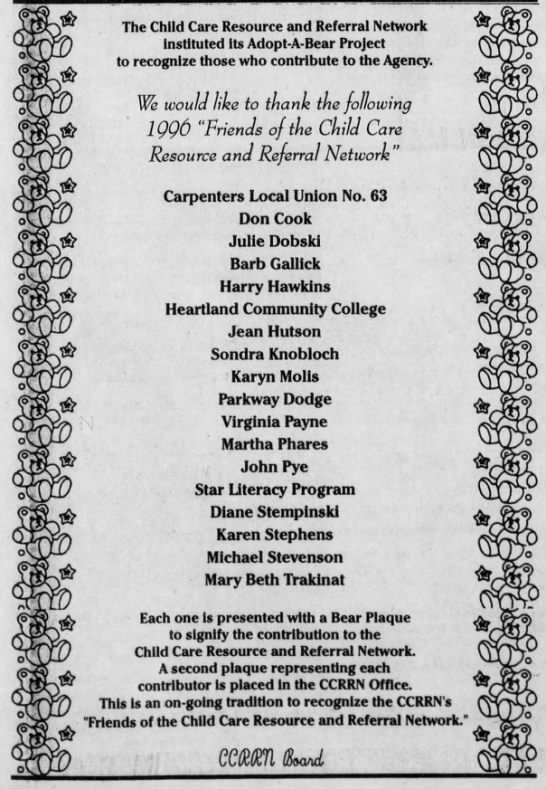 Child Care Resource and Referral Network March 16 1997 - The Child Care Resource and Referral Network...
